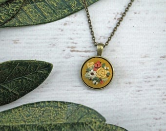 Mustard Gold Yellow Floral Mini Embroidery Necklace - Detailed Embroidered Jewelry - Coral Pink Flowers - Bouquet - Bronze Pendant