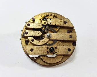 Antique, Gilt, Swiss, Pocket Watch, Movement, Dial, Key Wind, Steampunk, Altered Art, Jewelry, Beading, Supply, Supplies