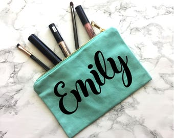 Personalized Gift, Personalized Zipper Pouch, Makeup Bag, Gift for her, Christmas Gift, Makeup Bag, Bridesmaid Gift, Wedding Makeup Bag