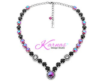 PINK & SASSY 8mm Halo Necklace Made With Swarovski Crystal *Choose your finish *Karnas Design Studio™ *Free Shipping*