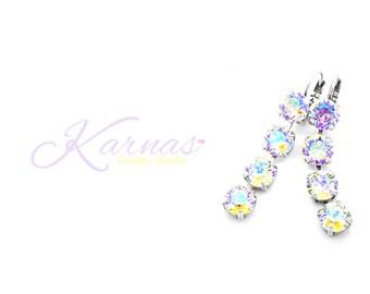 CRYSTAL GLACIER BLUE 8mm 4 Stone Drops Made With Swarovski Crystal *Pick Your Finish *Karnas Design Studio™ Free Shipping