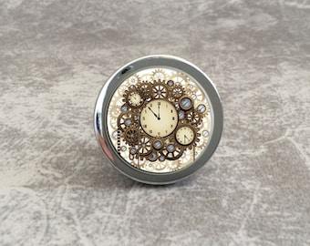 Steampunk Watch   Vintage Cabinet Knob Drawer Knobs Pulls Antique Brass  Silver Glass Dresser Knob Pull