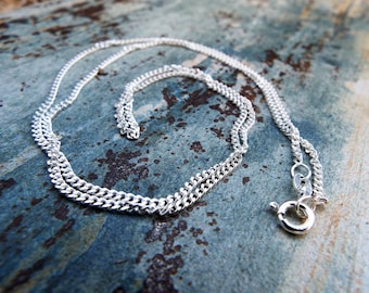 Silver Chain Sterling Silver 925 55cm Long Handmade Silver Necklace Curb Chain Jewelry