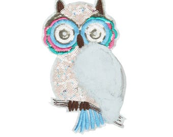 XXL Extra Large Beautiful 27cm Owl Furry Wing & Sequins Patch Applique