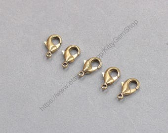 40Pcs 12mm Raw Brass Lobster Clasps GY-S071904