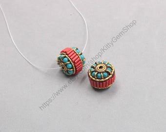 18mm 2Pcs Tibetan Brass Beads Chinese God Nepal Style Bead Handmade Supplies Wholesale GY-S030404
