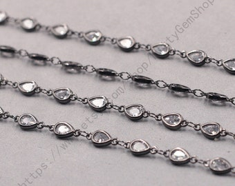 1ft, Teardrop White Zircon Connector Chain With Black Gold Plated -- Faceted Rosary Chains Wholesale Handmade Craft Supply CQA-091