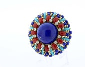 18K Gold Lapis lazuli, Coral, and Turqouise Brooch