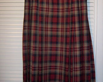 Skirt 12, Pendleton Plaid Maxi SkirtREDUCED TO 29.00 JUST NOW  in Tartan Plaid Wonderful 100% Wool Long Skirt, - see details