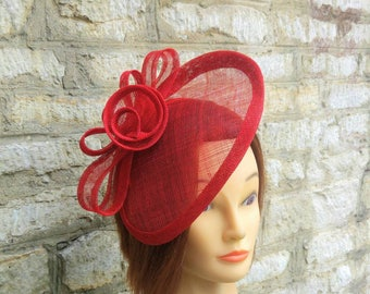 Red wedding hat poppy red fascinator hat on headband wedding fascinator red race fascinator Kate Middleton hat tea party hat