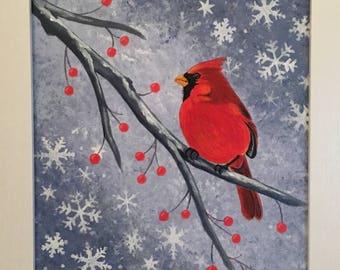 Cardinal in Winter Painting ~ Original ~ 8x10