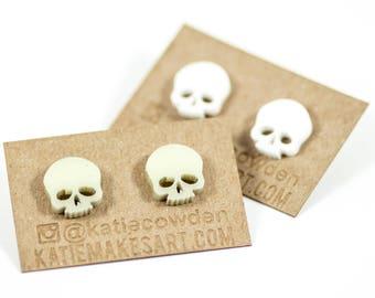 Laser Cut Acrylic Skull Earrings