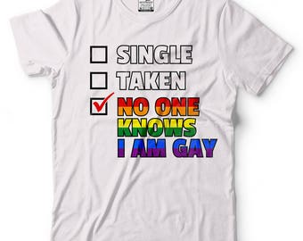 Gay T-Shirt Funny Lesbian Gay LGBT Flag Shirt