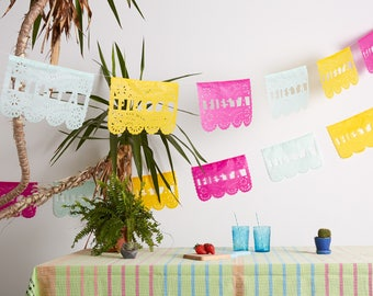 Mexican fiesta bunting, Mexican Banner, Fiesta Papel Picado, Papel Picado Garland, Bunting for Parties, Bridal shower decor, Hen Party decor