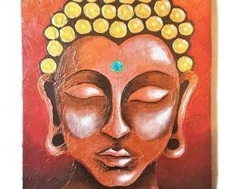Buddha Painting Acrylic Textured