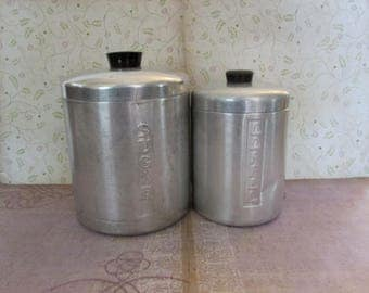 Vintage Mid Century Aluminum Sugar and Coffee Canister Set
