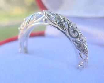 Filigree Wedding Band, Filigree Diamond Band, Art Deco Ring, Art Deco Wedding Band, Filigree Wedding Ring, Diamond Wedding Ring