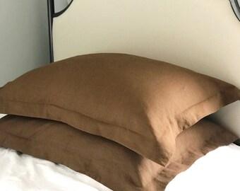 Flange Linen Pillow Shams, Luxury Linen Bedding, Pillow Cover Set, Made to Order, Belgian Linen, Brown Linen Shams