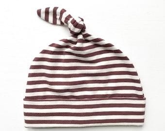 organic knottie baby hat   chocolate-vanilla stripe