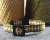 Cat Collar - Handwoven; Adjustable; Breakaway safety buckle; Olive drab and gold sparkle; Optional tag