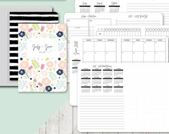 TN B6 Size: 2017-2018 Month on 2 Pages, Printable Travelers Notebook Insert, B6 TN, Printable Planner, Monthly - Classic Series