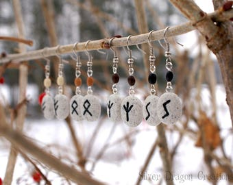 Multiple Runes Available - Norse Rune Dangle Earrings on Stone Color Clay w/ Wooden Beads, Viking, Nordic, Elder Futhark Jewelry, Pagan