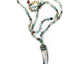 amazonite horn necklace