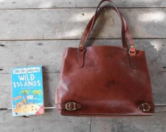 Vintage Leather Bag KEVIM Leather Tote Bag / Chestnut Brown / Medium
