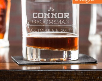 Groomsmen Gift, Best Man Gift, Engraved Rocks Glass, Whiskey Glass, Laser Etched Glass, Bachelor Party Glassware, Party Supplies, Gift Idea