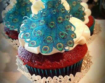 Edible Teal Blue Peacock Collection Set of 15