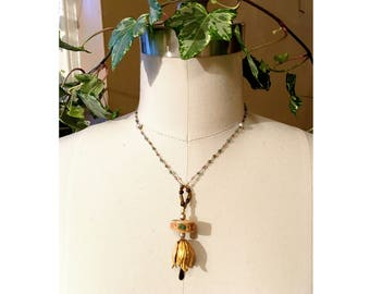 GILDED-MANE PENDANT : Brass Tulip Suspended from a Beaded Chain