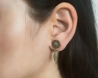 Brass Studs - Turquoise Studs - Long Studs - Tribal Studs - Indian Studs - Ethnic Studs - Statement Earrings - Long Earrings - Brass Jewelry
