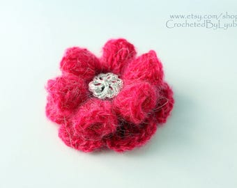 Crochet Flower Brooch, Unique Crochet 3d Flower, Handmade Crochet Gift For Women, Crochet Jewelry, Pink Mohair Big Brooch, Ready to Ship
