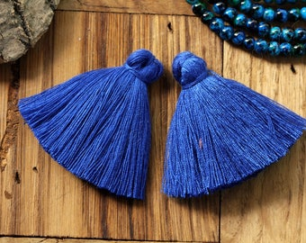 "2 pcs Large Cotton Tassel, 4cm/1.6"" Inches Long Tassels, Bohemian Luxe Tassels, Fashion Jewelry Making Supply, Mala Necklace, Saxe Blue #38"