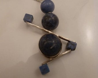 Vintage Sterling Lapis Modernist Pendant Necklace.