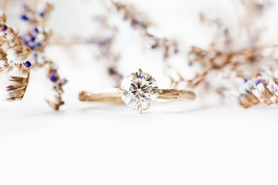 Moissanite 14k gold classic engagement ring, solitaire moissanite engagement ring, vintage inspired twig engagement ring, forever one ring