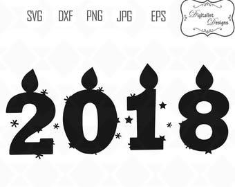 2018 svg, Happy New year svg, new year's svg, 2018 clipart, holiday clip art, star svg, cricut cut files, vector, silhouette, candle svg