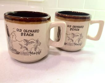 Vintage Old Orchard Beach ME Coffee Mugs Set of 2 Maine Souvenir Mug