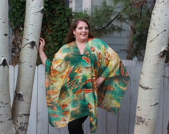 Teal and Yellow Tye Dye Shawl Top - Silk