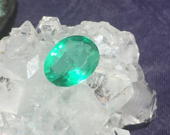 Rare Faceted Green Fluorite 14mm x 11mm x 7mm 5.8ct