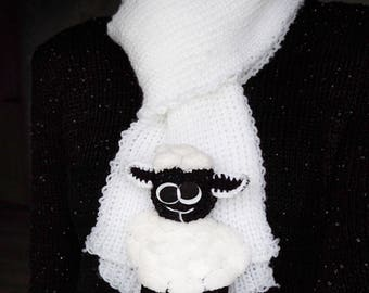 White Sheep Knit Scarf
