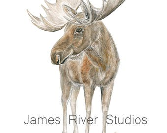 Moose Art Moose Watercolor Moose Print Moose Painting Moose Wall Decor Moose Wall Hanging Elk Art Elk Print Moose Poster Moose Art Print.