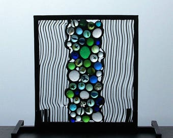 Glass with blue & green marbles lead edged decorative panel copperfoiled