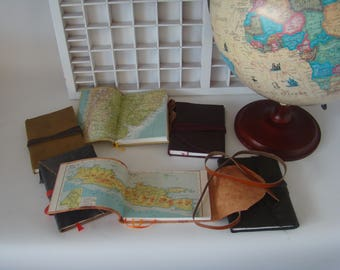A6 writing book with Atlas paper-travel Journal-Travel Book-Various designs leather diary-Travel Book-Note book Leather