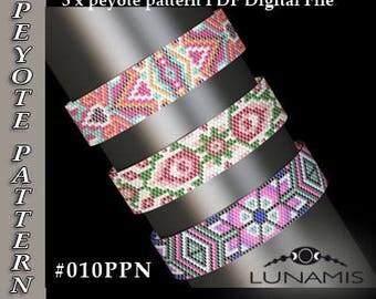 peyote bracelet pattern, peyote pattern, odd count, stitch pattern, pdf file, pdf pattern, #010PPN, lunamis
