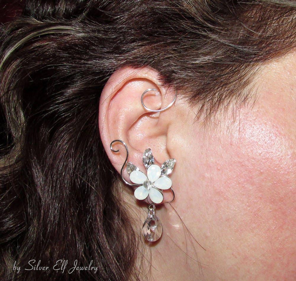 Swarovski Wedding Ear cuff, wedding earrings, bridal earrings ...