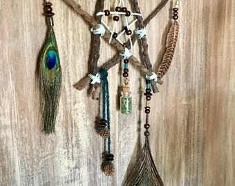 Star - Pentagram - Dream Catcher - Boho Decor - Gypsy - Star Dreamcatcher