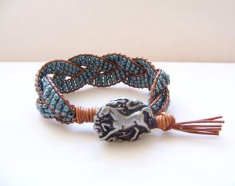 Running Horse Beaded Braided Leather Wrap Cuff Bracelet, Beaded Leather, Horse Bracelet, Horse Jewelry, Leather Jewelry, Beaded Bracelet