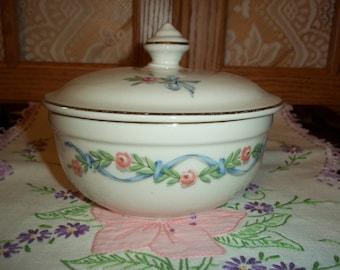 Vintage Hall Superior Quality Kitchenware Lidded Sugar Bowl Pink Rose Garland w Blue Ribbon Gold Trim 1950's Collectible Kitchenware