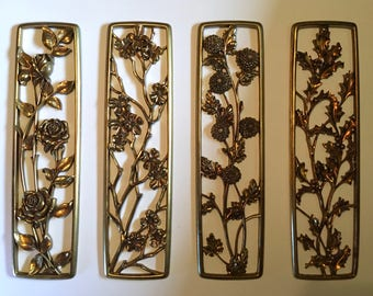 """Set of four large Syroco Wood """"Four Seasons"""" floral wall decor by Syracuse Originals"""